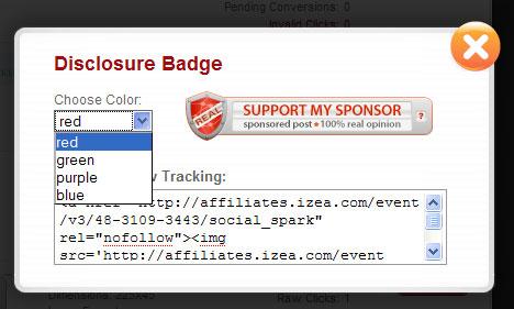 Social Spark Disclosure Badge Code
