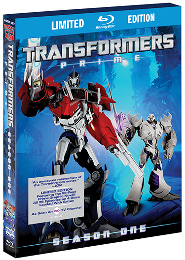 TRANSFORMERS PRIME: THE COMPLETE FIRST SEASON Featuring Over 10 Hours of Non-Stop Action, Special Bonus Content and More!  THE COLLECTIBLE 4-DVD SET & LIMITED EDITION 4-DISC BLU-RAY™ COLLECTION – PACKED WITH A 96-PAGE GRAPHIC NOVEL OWN IT ON MARCH 6, 2012 FROM SHOUT! FACTORY