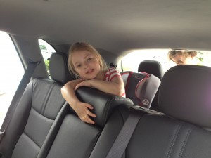 Eva's got the back seat all to herself