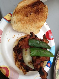 Sweet & Spicy Cheddar Bratwurst Burger