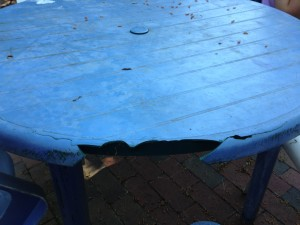 Our Busted Plastic Table