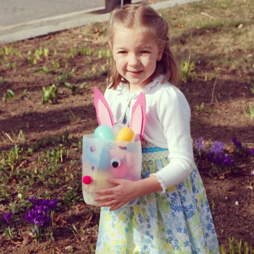 Eva's Easter Bunny Basket that she made from a water bottle