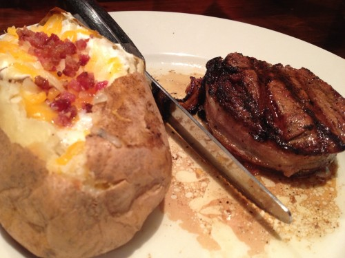 Loaded Baked Potato and Bacon Wrapped Filet