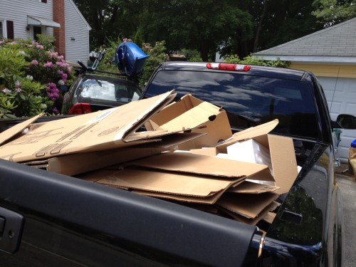 The First load of cardboard and Styrofoam in the GMC Sierra Denali