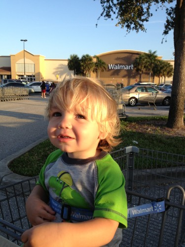 Walmart trip with Daddy. I should be in bed, right now.
