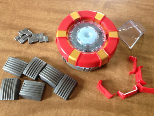 All the Pieces from The Iron Man Arc Reactor Kit from Uncle Milton