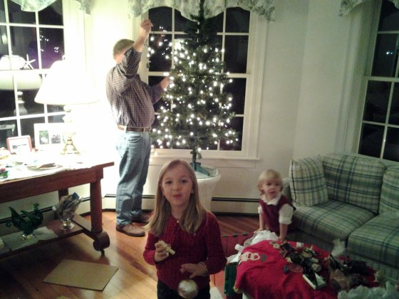 #Shop - Trimming the Cape Cod Christmas Tree with Grandfather - Photo Taken with Samsung Galaxy Tablet 3 #IntelTablets