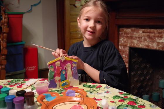Proud of her Nativity Set