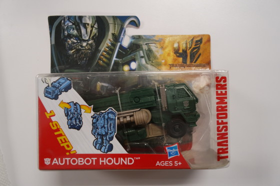 One-Step changers Autobot Hound in the Package