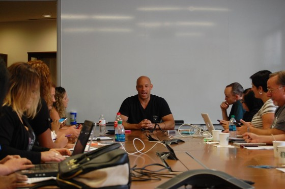 Vin Diesel talks with the bloggers about playing Groot