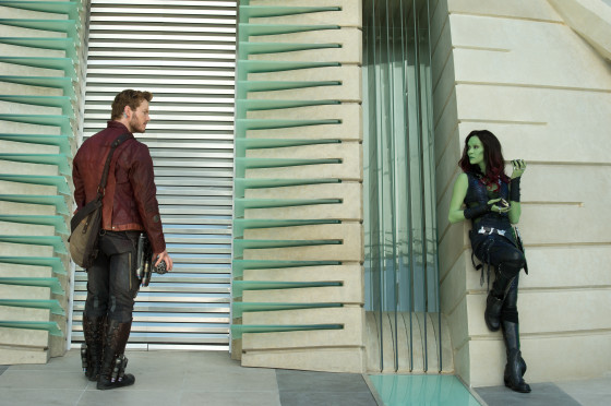 Star-Lord AKA Peter Quill played by Chris Pratt) and Gamora played by Zoe Saldana