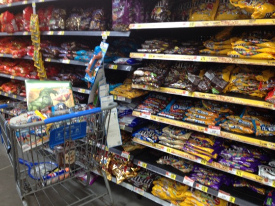 M&Ms aisle at Walmart - #HeroesEatMMs #CBias #CollectiveBias #Shop