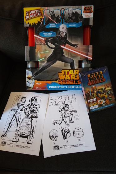 Ready to enjoy Star Wars Rebels with the DVD, coloring Pages and the Inquisitor's Lightsaber - #SparkRebellion