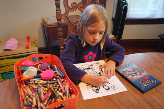 Eva coloring a Star Wars Rebels Coloring Page featuring Ezra, Sabine and Chopper - #SparkRebellion