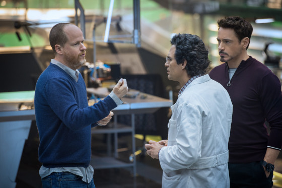 Joss Whedon with Mark Ruffalo and Robert Downey Jr.