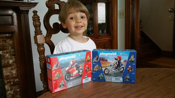 Andrew Excited about the Playmobil Motorcycles