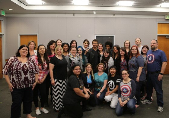 Jeremy Renner and Cobie Smulders with 25 #AvengersEvent Bloggers - Photo Credit - Disney