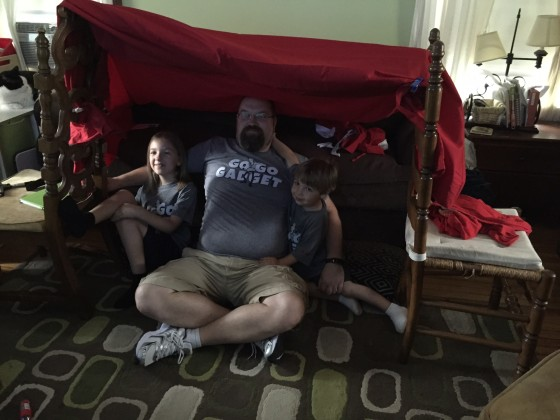 Inside our Fort in the Living Room