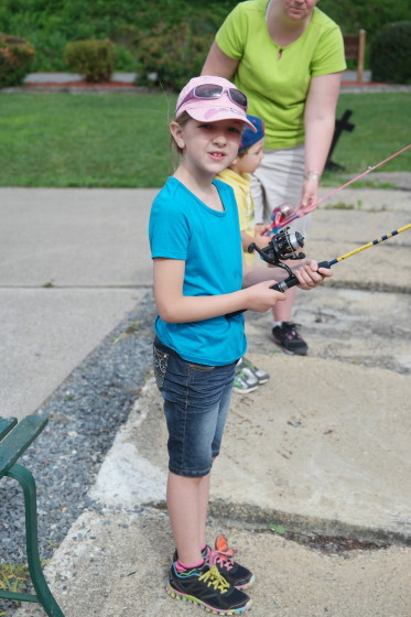 Eva and Andrew Fishing at the Sportsman's Club