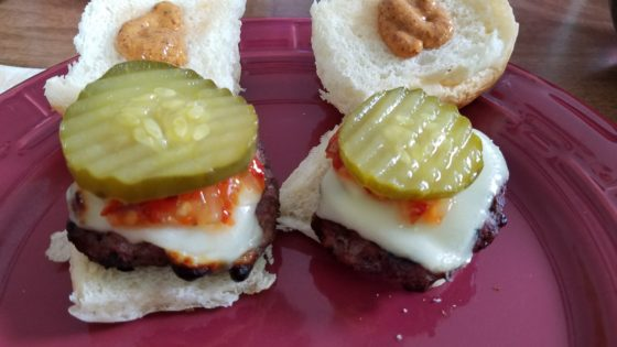 Mini Sliders with Wickles and sriracha Mustard