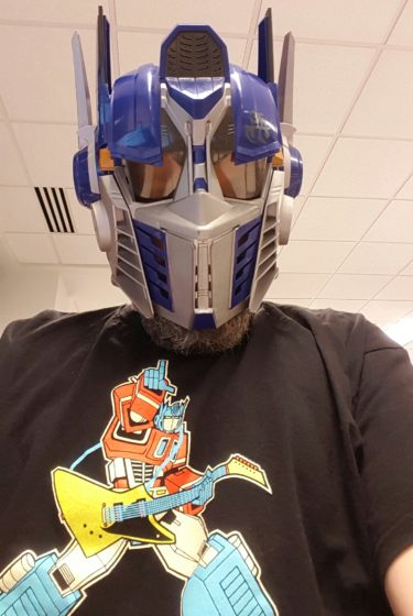 In Optimus Prime Helmet