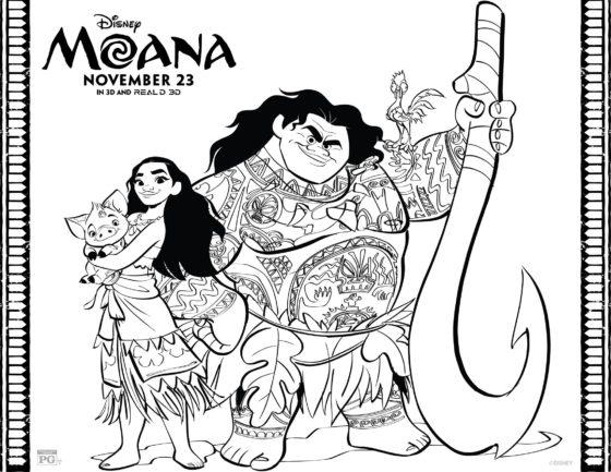 Moana and Maui Coloring Page 2