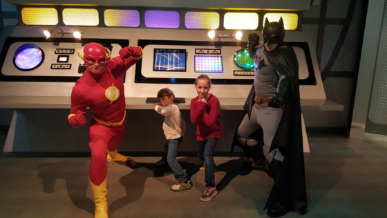 Eva and Andrew with The Flash and Batman