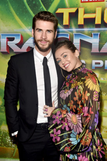 Liam Hemsworth and Miley Cyrus The World Premiere Of Marvel Studios Thor Ragnarok