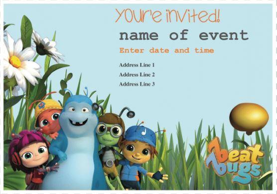 Beat Bugs Bday Invite