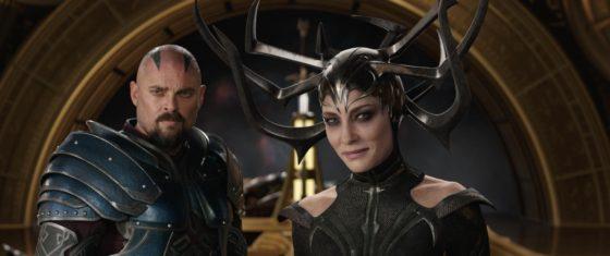 Karl Urban as Skurge with Cate Blanchett as Hela