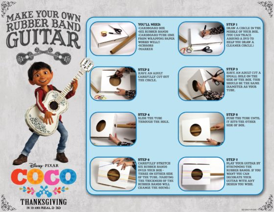 Coco Rubber Band Guitar Activity Sheet