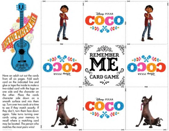 Coco Memory Game Activity Sheet