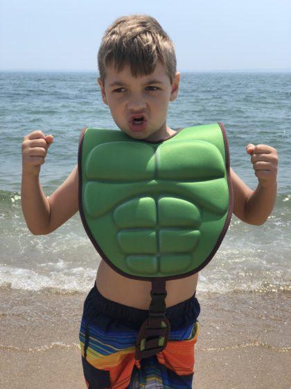 Andrew in the Swimways Avengers 3-D Vest