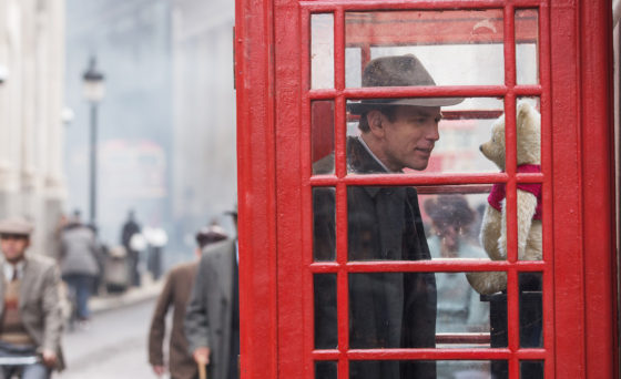 Christopher Robin with Winnie the Pooh in a Phone Booth