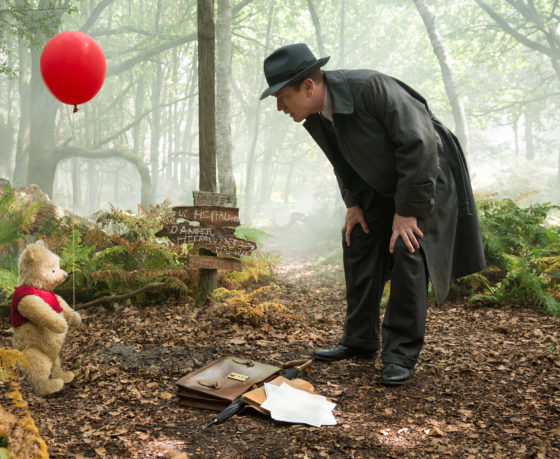 Christopher Robin and Pooh at the Warning Sign